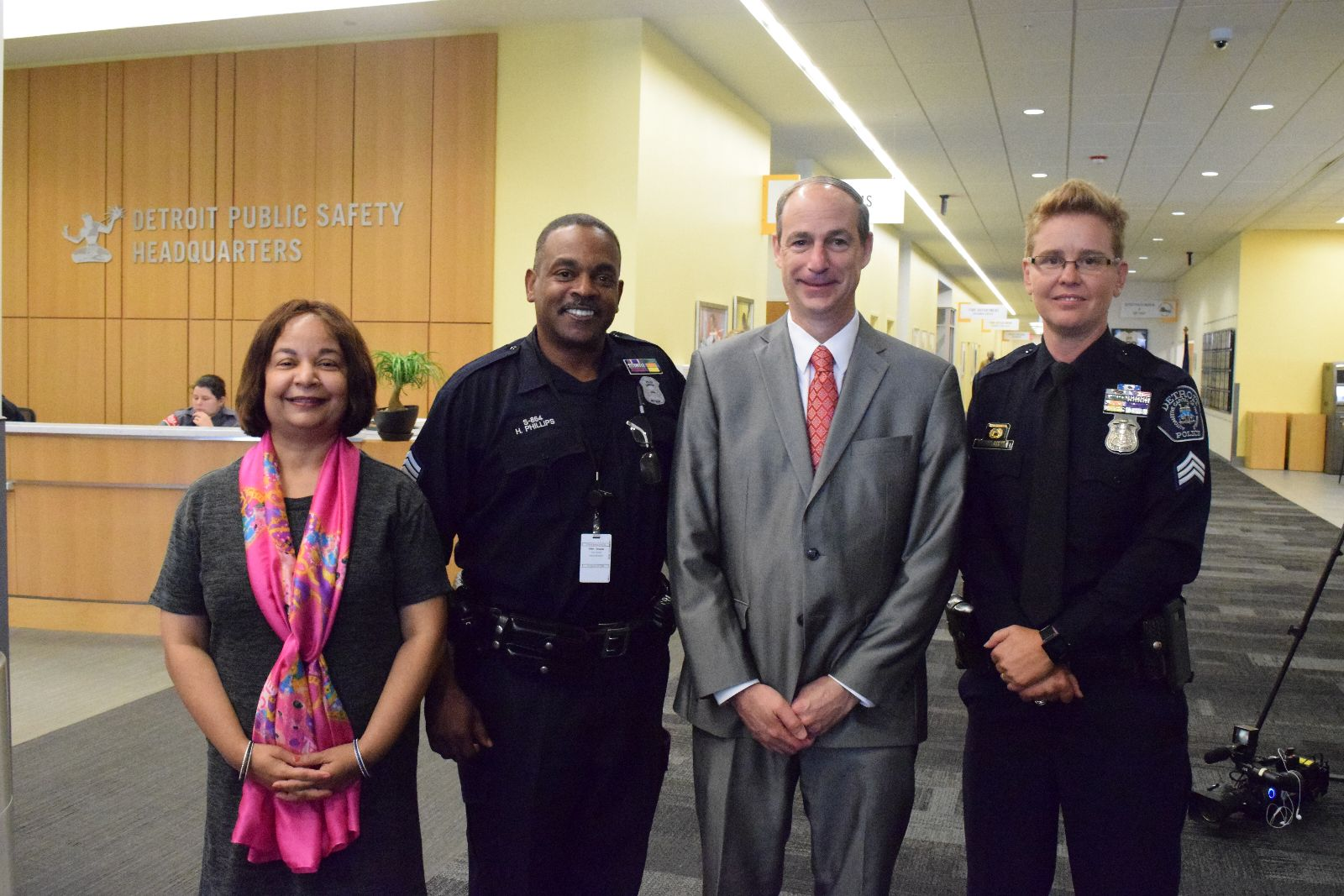 news college of liberal arts and sciences from left to right associate provost and dean of wayne state s graduate school ambika mathur dpd sergeant howard phillips college of liberal arts and